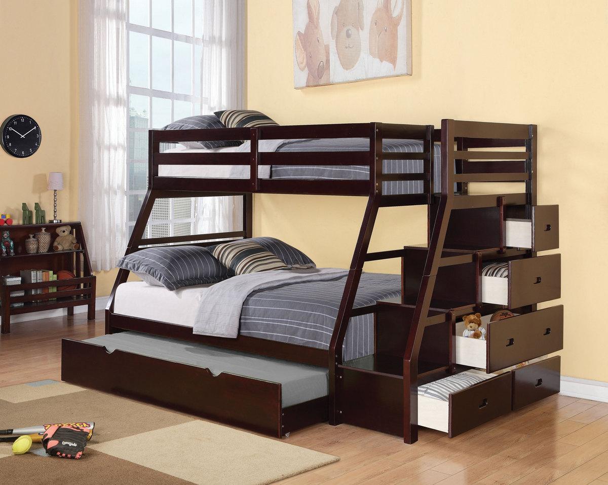 Acme Jason Storage Twin Full Bunk Bed Storage Ladder Trundle Espresso