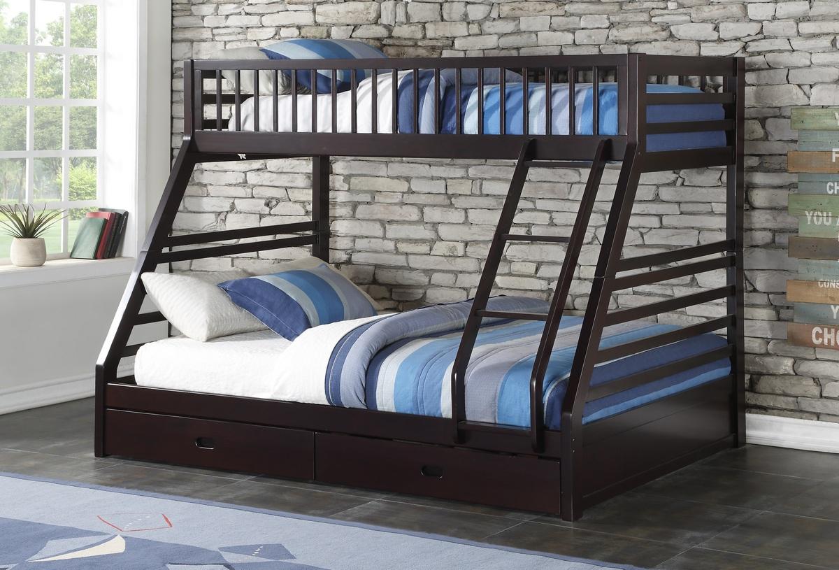 Acme Jason Xl Twin Xl Queen Bunk Bed Drawer Espresso