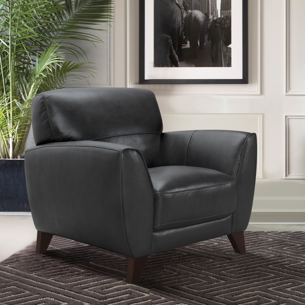 Armen Living Jedd Contemporary Chair Genuine Black Leather Brown Wood Legs