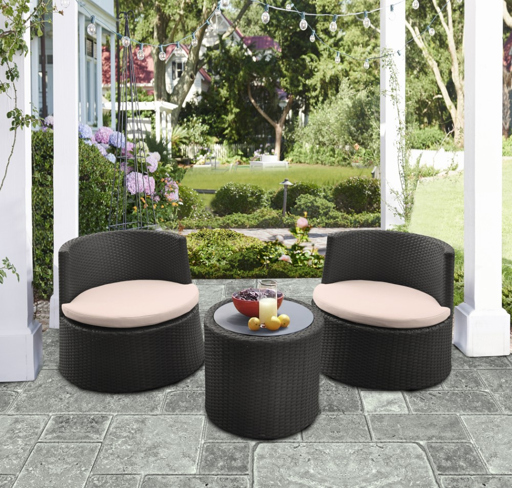 Armen Living Kailani Outdoor Wicker Patio Set Table Chairs
