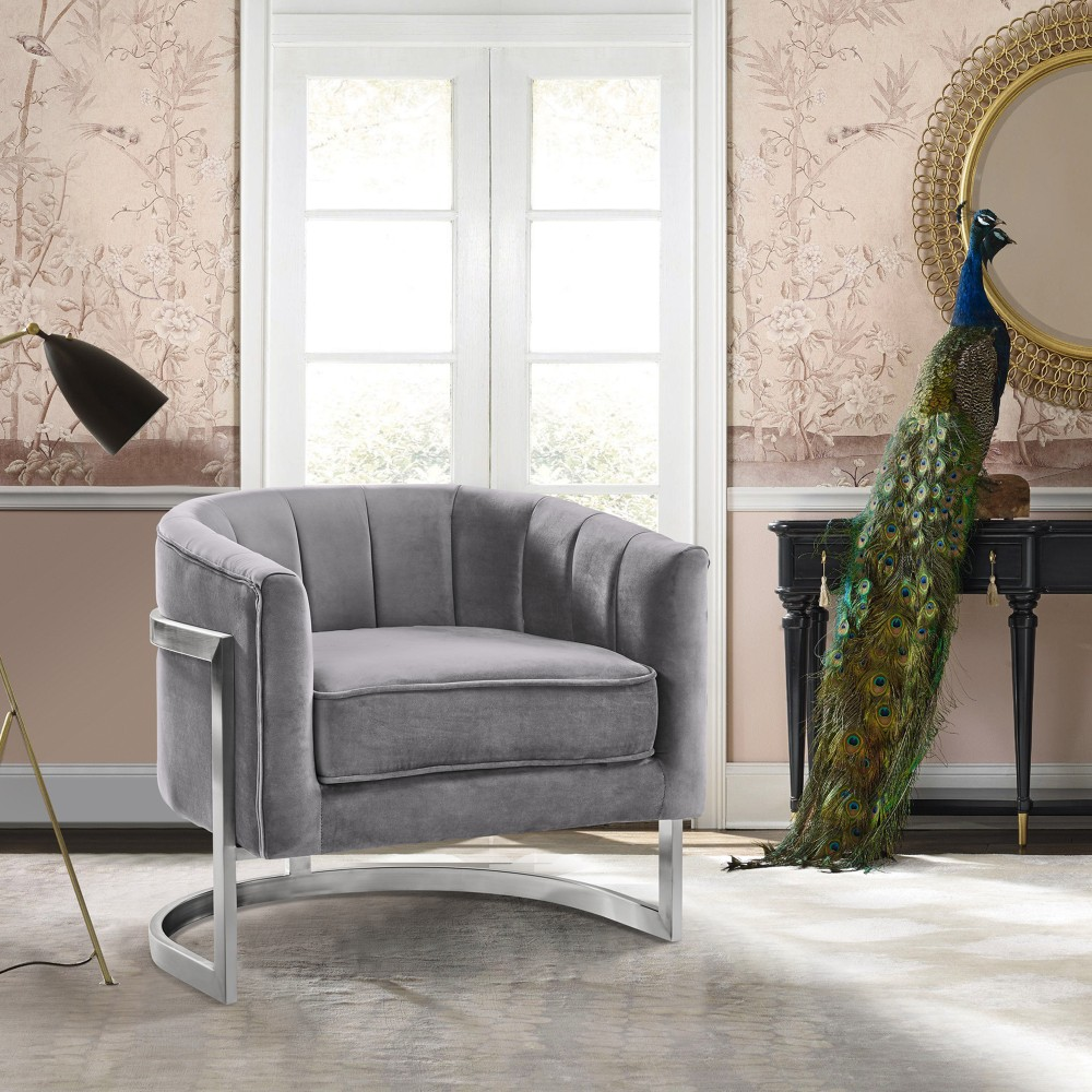 Contemporary | Stainless | Velvet | Accent | Finish | Brush | Steel | Chair | Live | Grey
