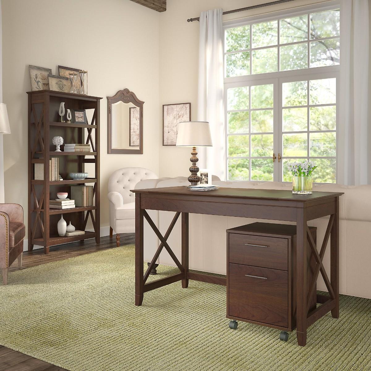 Writing Desk Drawer Mobile Pedestal Shelf Bookcase Bing Cherry