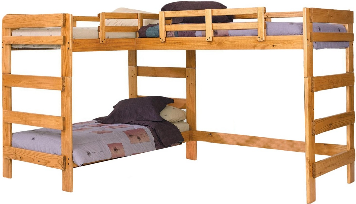 Chelsea Home L Shaped Loft Bed Honey