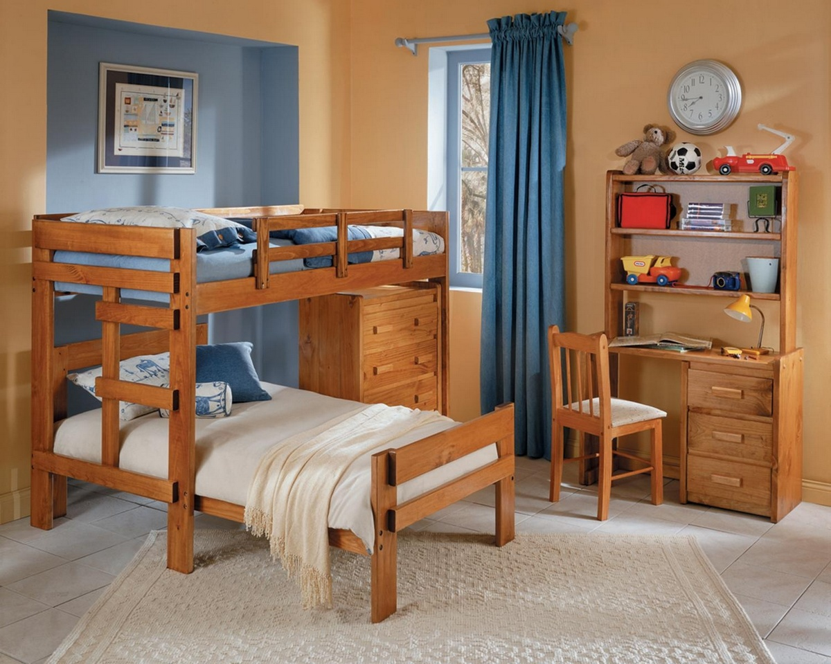 Chelsea Home L Shaped Twin Over Twin Drawer Chest Honey