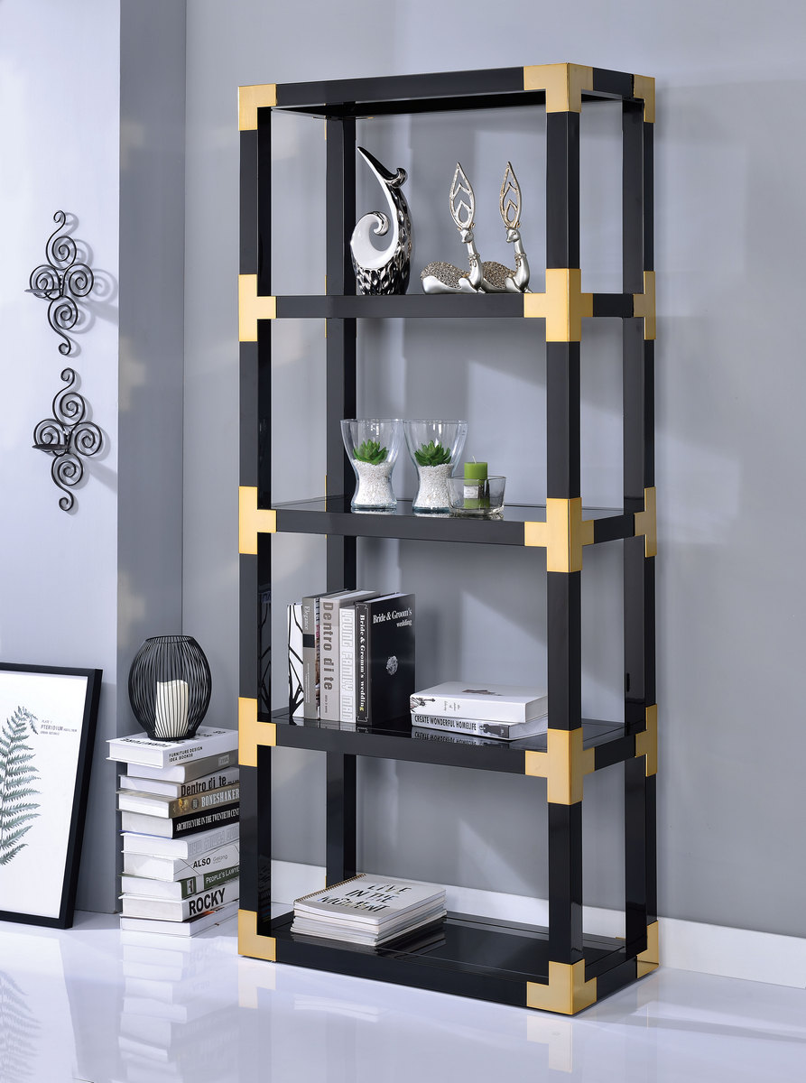 Acme Lafty Bookshelf Gold Black High Gloss Black Mirror