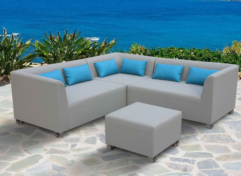 Armen Living Outdoor Textilene Sectional Set