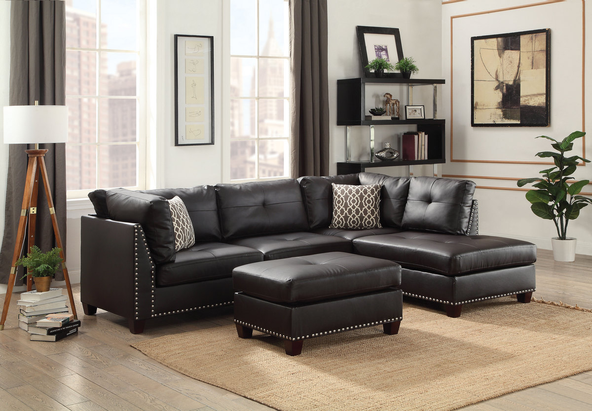 Acme Laurissa Sectional Sofa Ottoman Pillows Ebony Pu