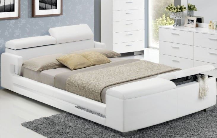 Acme Layla Eastern King Bed Storage White Pu