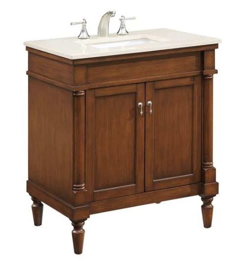 Elegant Lighting Single Bathroom Vanity Set Brown