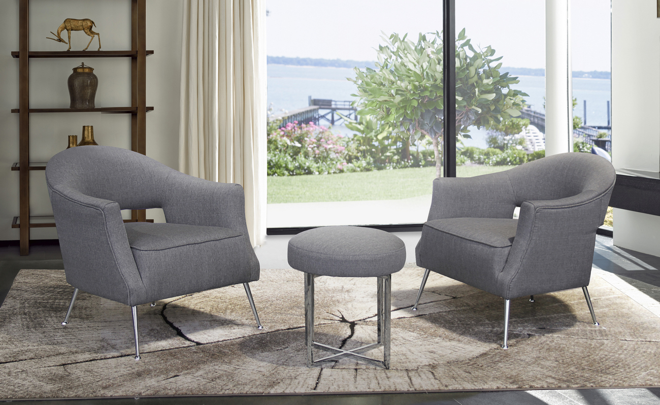 Contemporary | Stainless | Accent | Fabric | Finish | Brush | Steel | Chair | Live | Grey