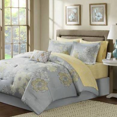 Madison Park Essentials Avalon Full Complete Comforter & Cotton Sheet Set in Grey - Olliix MPE10-041