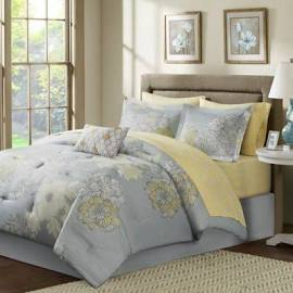 Madison Park Essentials Avalon Queen Complete Comforter & Cotton Sheet Set in Grey - Olliix MPE10-042
