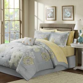 Madison Park Essentials Avalon Twin Complete Comforter & Cotton Sheet Set in Grey - Olliix MPE10-040