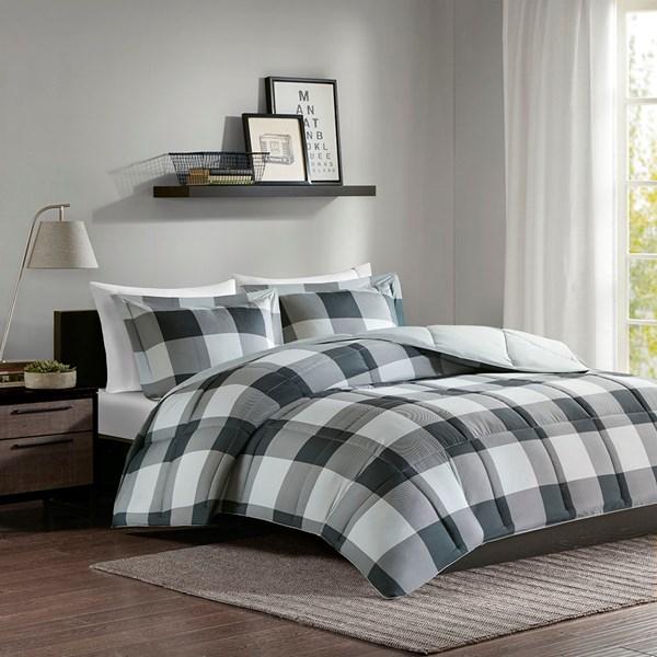 Madison Park Essentials Barrett Full/Queen 3M Scotchgard Down Alternative Comforter Mini Set in Grey/Black - Olliix MPE10-559