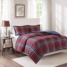 Madison Park Essentials Bernard King/Cal King 3M Scotchgard Down Alternative Comforter Mini Set in Red - Olliix BASI10-0400