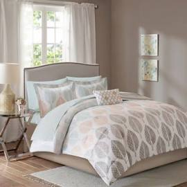 Madison Park Essentials Central Park King Complete Comforter & Cotton Sheet Set in Coral/Green - Olliix MPE10-384