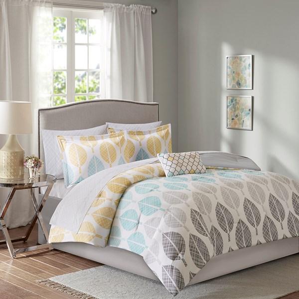 Madison Park Essentials Central Park Queen Complete Comforter & Cotton Sheet Set in Yellow/Aqua - Olliix MPE10-388