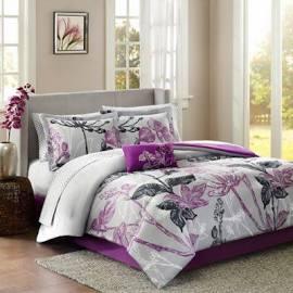 Madison Park Essentials Claremont Queen Complete Comforter & Cotton Sheet Set in Purple - Olliix MPE10-023