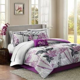 Madison Park Essentials Claremont Twin Complete Comforter & Cotton Sheet Set in Purple - Olliix MPE10-021
