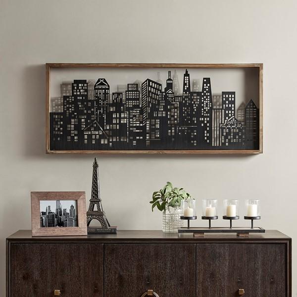 Madison Park Metal Wall Art Decor W Wooden Frame In Blackwhite Olliix Mp167 0194