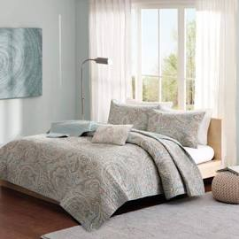 Madison Park Pure Ronan Full/Queen 4 Piece Coverlet Set in Blue - Olliix MPP13-049