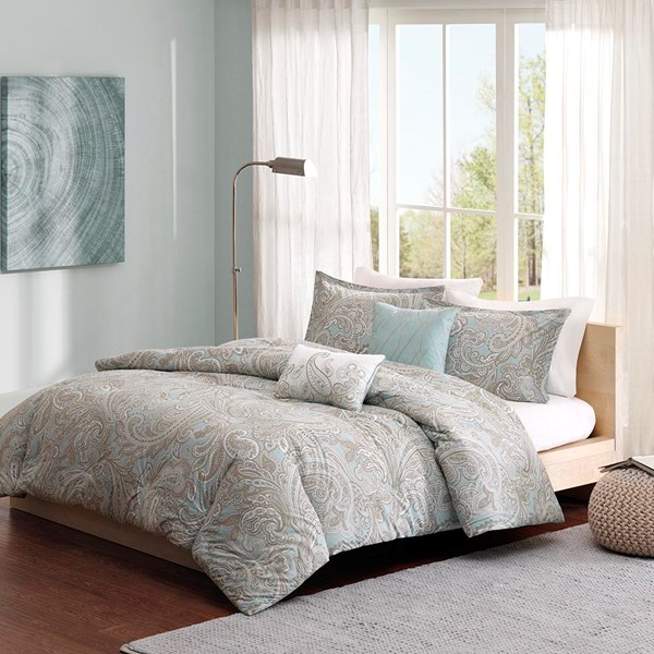 Madison Park Pure Ronan Full/Queen 5 Piece Cotton Duvet Cover Set in Blue - Olliix MPP12-019