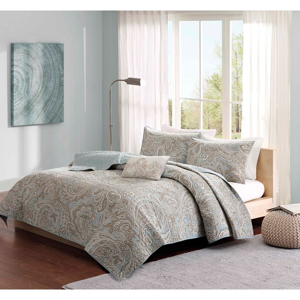 Madison Park Pure Ronan King/Cal King 4 Piece Coverlet Set in Blue - Olliix MPP13-050