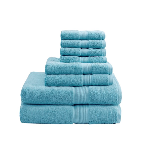 Madison Park Signature 800GSM 100% Cotton 8 Piece Towel Set in Aqua - Olliix MPS73-193