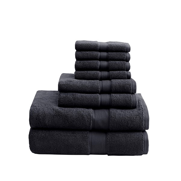 Madison Park Signature 800GSM 100% Cotton 8 Piece Towel Set in Black - Olliix MPS73-320
