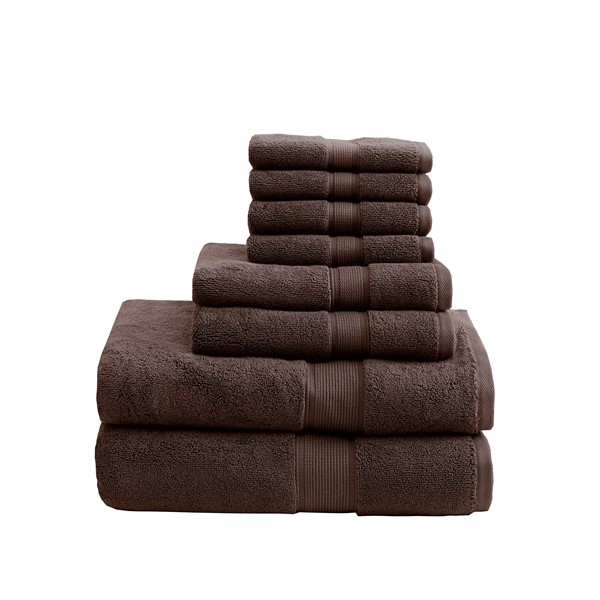 Madison Park Signature 800GSM 100% Cotton 8 Piece Towel Set in Brown - Olliix MPS73-196