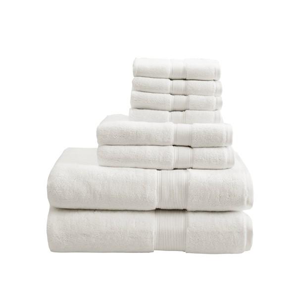 Madison Park Signature 800GSM 100% Cotton 8 Piece Towel Set in Cream - Olliix MPS73-189