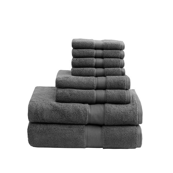 Madison Park Signature 800GSM 100% Cotton 8 Piece Towel Set in Grey - Olliix MPS73-197