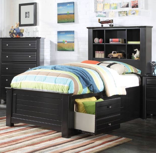 Acme Mallowsea Full Bed Storage Rail Black