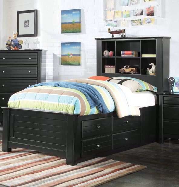 Acme Mallowsea Twin Bed Storage Rail Black