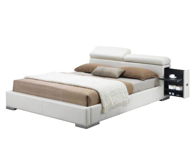 Acme Manjot Queen Bed Hidden Side Storage White Pu