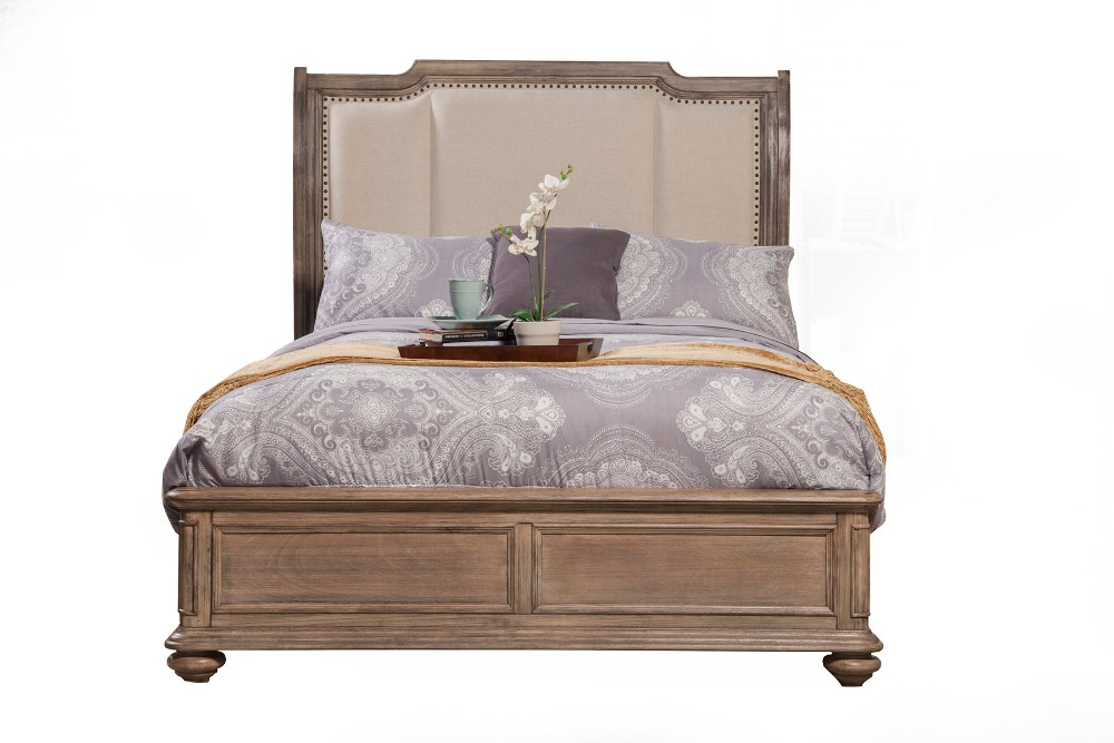Alpine California Sleigh Bed King Upholstered Headboard