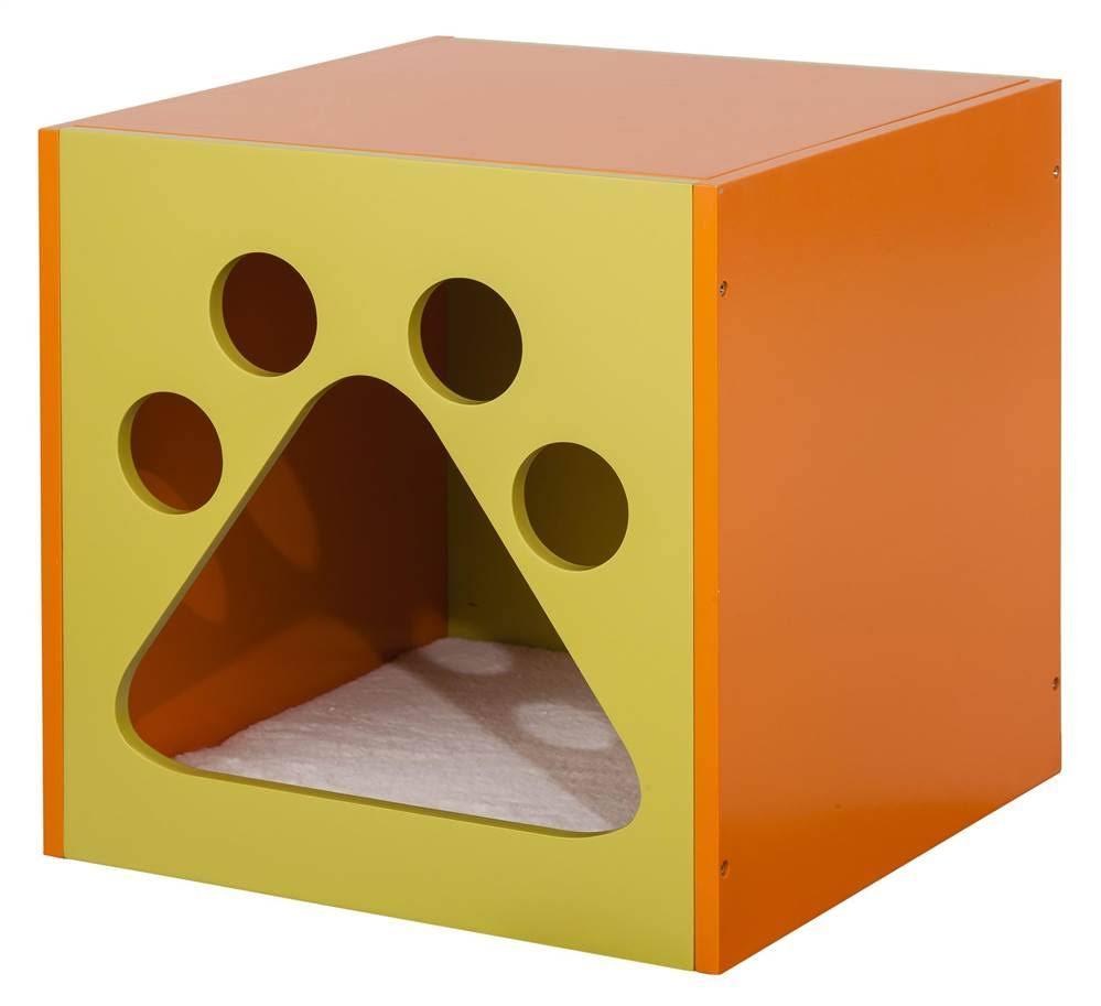 Mellow Green & Apricot Tan Cat Cuddle box - Elegant Home Fashions PET-985