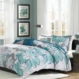 Mi Zone Allison Full/Queen Comforter Set in Blue/Grey - Olliix MZ10-513