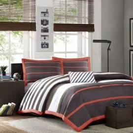 Mi Zone Ashton Full/Queen Comforter Set in Orange/Grey - Olliix MZ10-145