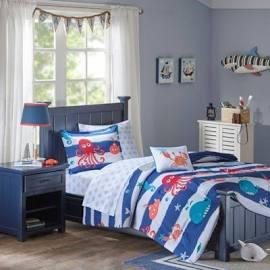 Mi Zone Kids Sealife Twin Complete Bed & Sheet Set in Blue - Olliix MZK10-110