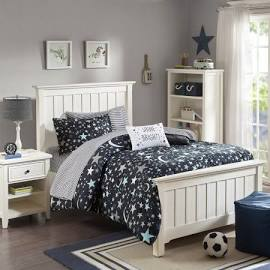 Mi Zone Kids Starry Night Twin Complete Bed & Sheet Set in Charcoal - Olliix MZK10-134