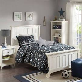Mi Zone Kids Starry Night Twin Coverlet Set in Charcoal - Olliix MZK13-136