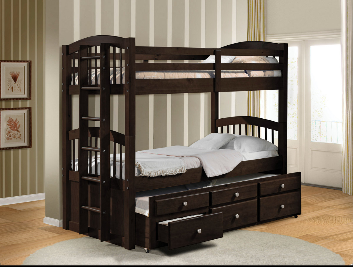 Acme Micah Twin Twin Bunk Bed Trundle Drawers Espresso