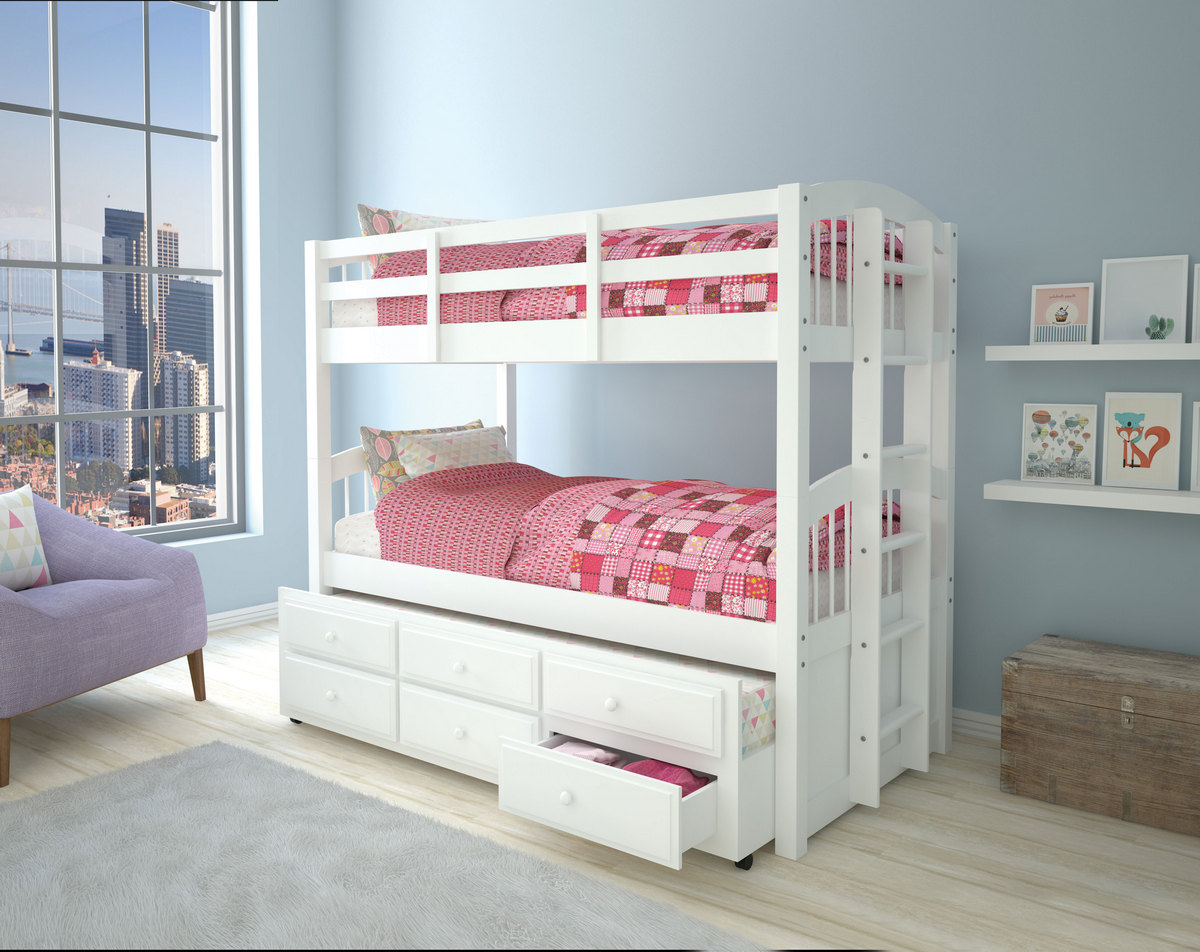 Acme Micah Twin Twin Bunk Bed Trundle Drawers White