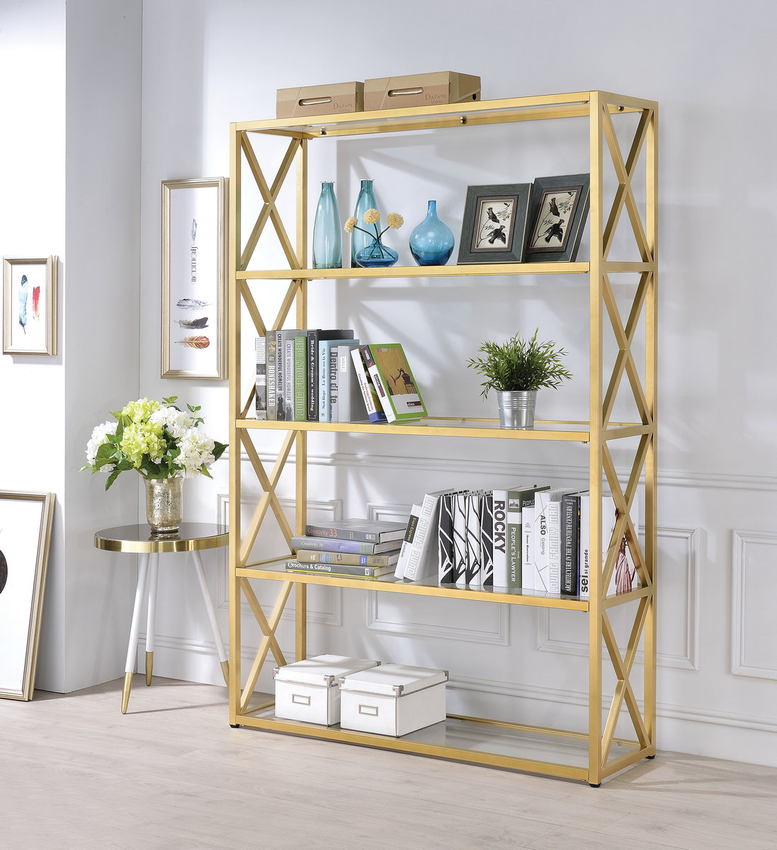 Acme Milavera Bookshelf Gold Clear Glass