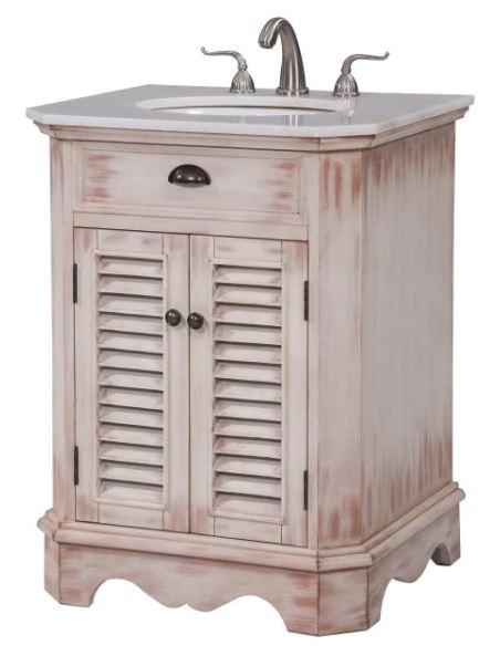 Elegant Lighting Milford Single Bathroom Vanity Set White Wash