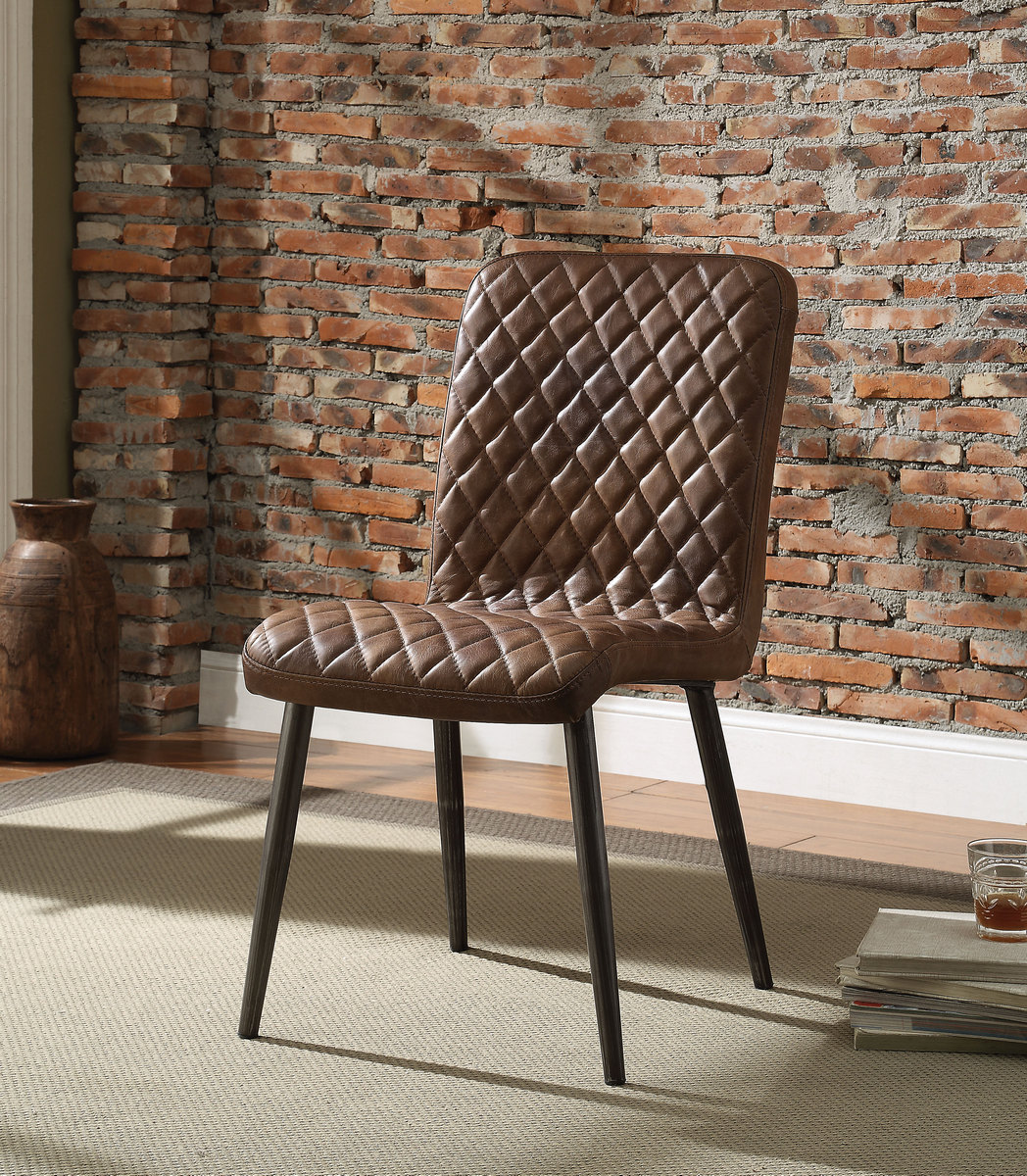 Acme Millerton Side Chair Vintage Chocolate Grain Leather