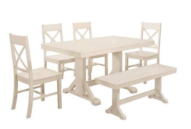 Walker Edison Millwright Wood Dining Set Antique White