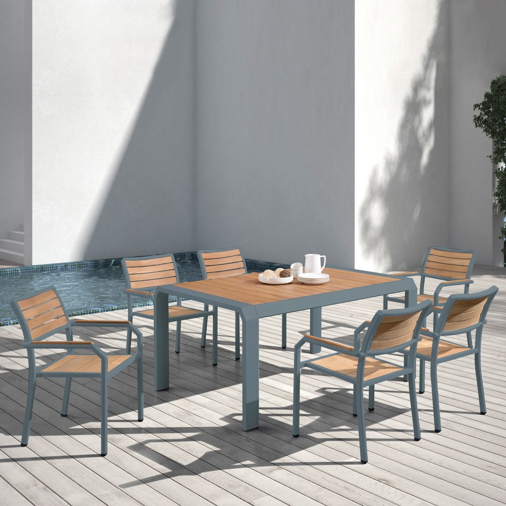 Armen Living Minsk Outdoor Patio Dining Table Gray Powder Coated