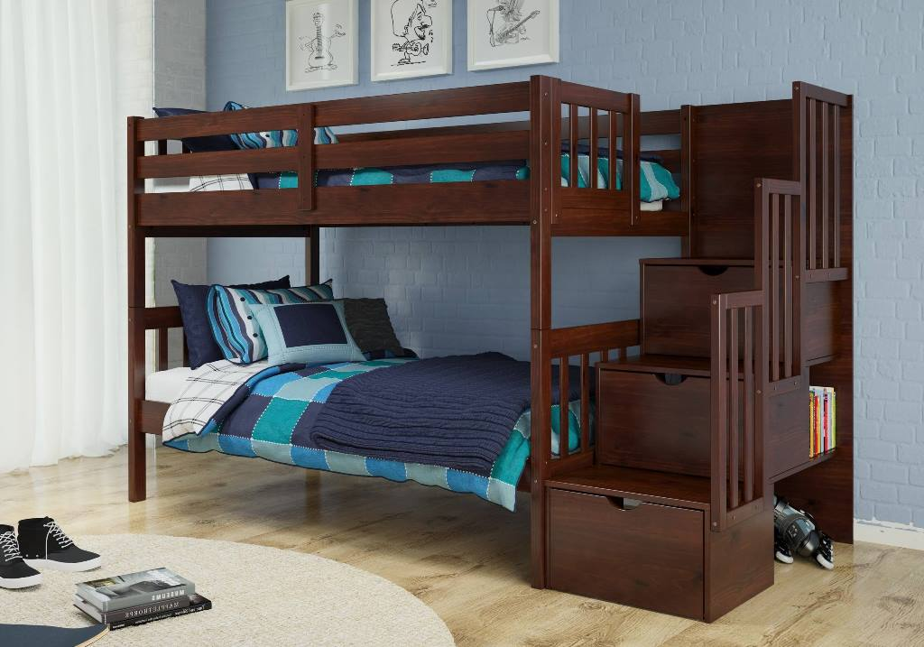 Donco Kids Twin Stairway Bunk Bed Cappuccino